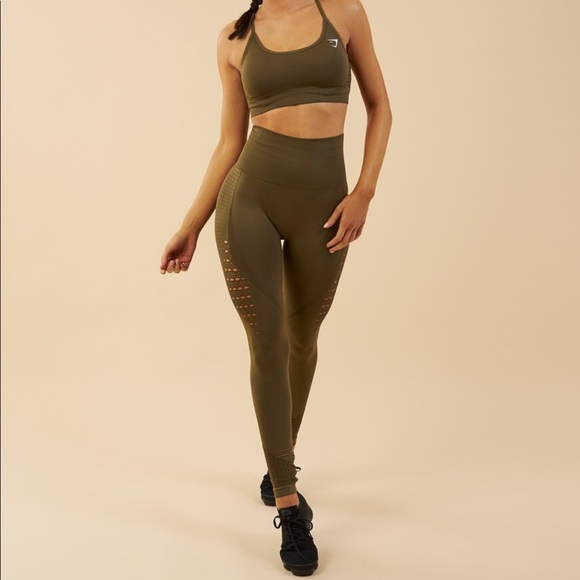 4866734e045407 Gymshark Pants | Energy Seamless Leggings Olive Green | Poshmark